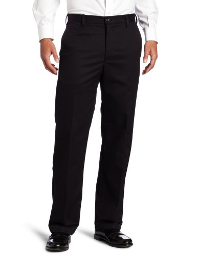 IZOD Men's American Chino Flat Front Straight-Fit Pant, Black, 35W x 30L