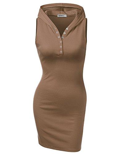 Women's Sleeveless Henley Neck Basic Hoodie Dress Cocoa L ()