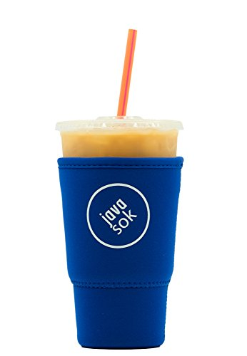 (JAVA SOK Reusable Iced Coffee Sleeve - Cup Insulator Sleeve for Cold Beverages and Neoprene Cup Holder | Ideal for Starbucks Coffee, McDonalds, Dunkin Donuts, More (32 oz Large, Blue))
