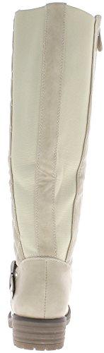 Stivali donna beige tacchi di trapuntato con elastico di 3,5 cm staminali