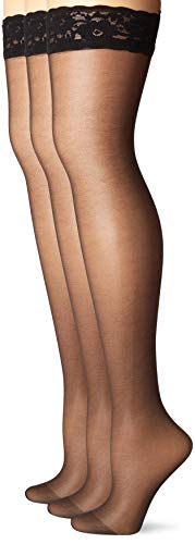 - HUE Women's So Sexy French Lace Sheer Thigh Highs (Pack of 3), black 2