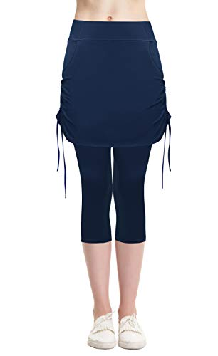 (Cityoung Women's Workout Pants Skirted Swim Capri Modest Athletic Skort Cropped Leggings 14 ny)