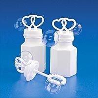 200 WHITE DOUBLE HEART WEDDING BUBBLES RETAIL BOXED ()