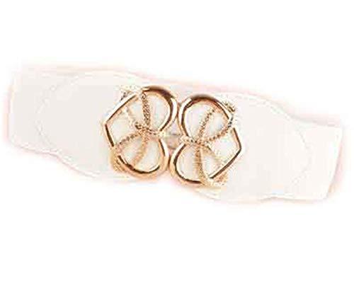 Mistere Nice Fashion Women's Cummerbund gold heart buckle Belt Wide WaistBand Female Leather Cummerbunds for Dresses,OneSize,White Color by Mistere Apparel-belts