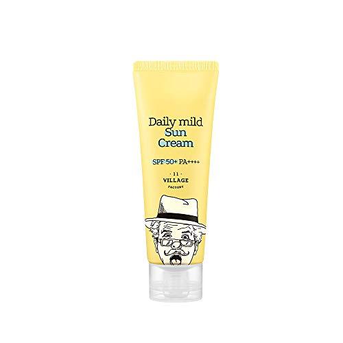 Village 11 Factory Sunscreen, Broad Spectrum SPF 50+, UVA/UVB Protection for Sensitive Skin, Moisturizing Daily Mild Sun Cream   Sunscreen for Face