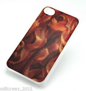 CLEAR Snap On Case iPhone 4 4S Plastic Cover BACON food burger pig fries king (Burger Foods King)