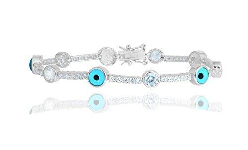 - NYC Sterling Women Evil Eye Bezel Silver Tennis Bracelet (Silver)