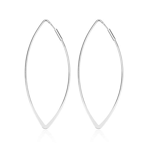 Simple Marquise - RIAH FASHION Classic Geometric Leaf Cutout Open Hoop Earrings - Simple Metallic Marquise Pointed Oval Statement Hoops/Floating Petal Drop Dangles (Infinity - Silver)