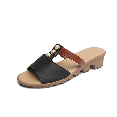 ZPPZZP Ms sandali pantofole stile Coreano trascinare pendenza 36EU spesso nero