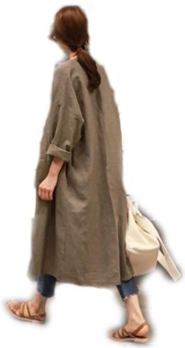ロング カーディガン レディース ガウン 羽織り 長袖 ロング丈 体型カバー 綿 麻 リネン