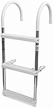 Boat Ladders Rear Entry 3 Step Folding Removable,Boat Swimming Platform with Inboard Handrail,for Marine Yacht