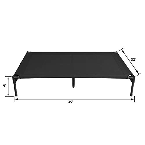 Veehoo Elevated Dog Bed, Portable Raised Pet Cot with Washable & Breathable Mesh, No-Slip Rubber Feet for Indoor & Outdoor Use, X Large, Black