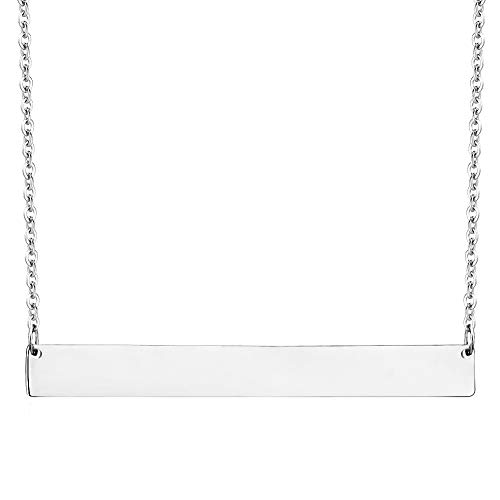 - Lazycat Stainless Steel 18K Plated Bar Necklace with Engravable Bar Pendant (Silver)