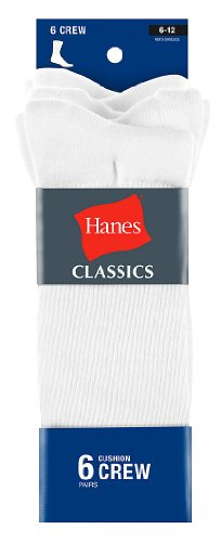 Hanes Ultimate Men's ComfortSoft Crew Socks 6-Pack 10-13 White ()