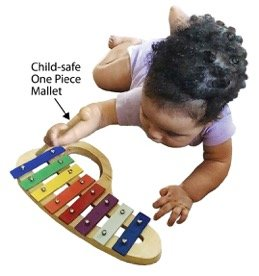 Glockenspiel (Baby Xylophone), from Jack & Jill Music a Beautiful Toddler Instrument, perfect for any age, made of Wood with a bright pleasing tone and comes with a luxurious velvet storage pouch