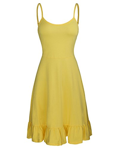 Yellow Cotton Dress - OUGES Women's Adjustable Spaghetti Strap Sleeveless Summer Beach Slip Dress(Yellow,M)