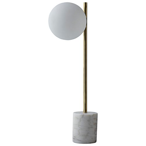Rivet Modern Glass Globe and Marble Table Lamp with LED Bulb, 23''H, Brass, White by Rivet (Image #6)