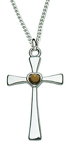 Genuine Mustard Seed - Women's Silver Cross Necklace with Genuine Mustard Seed 18
