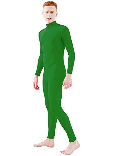 Ensnovo Adult Lycra Spandex Turtleneck Long Sleeve One Piece Unitard Bodysuit Dancewear Green, XXL -