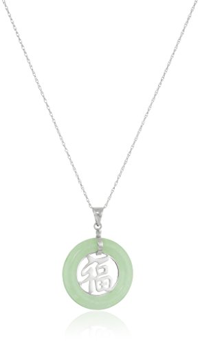 Rhodium-Plated Sterling Silver Green Jade Tube with Asian Script Pendant Necklace, 18