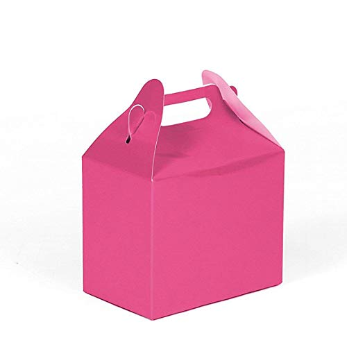 24CT (2 Dozen) Biodegradable Kraft/Craft Favor Treat Gable Boxes, Gift Boxes (Hot Pink, Small)