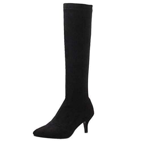 Femmes Noir Coolcept Stretch Mode Boots Pointu Bout OwwqYSd