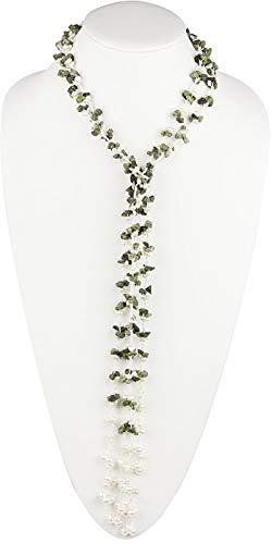HinsonGayle 'Lauren' Handwoven 2-Strand Green Jasper & Freshwater Cultured Pearl Lariat Necklace-42 in Length