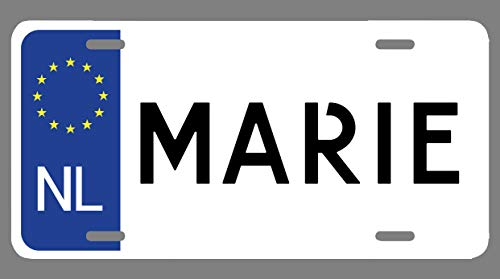 JMM Industries Marie Name Euro Style License Plate Tag Vanity Novelty Metal   UV Printed Metal   6-Inches by 12-Inches   Car Truck RV Trailer Wall Shop Man Cave   NP864