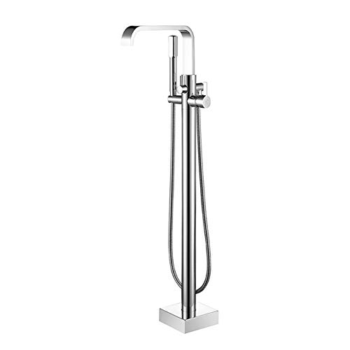 Aon-JY Luxury Soild Brass Modern Bathroom Water Mixer Freestanding Bathtub Faucet Tub Filler with Hand Shower Chrome