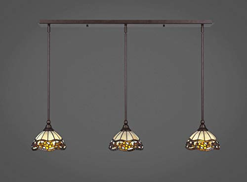 (Toltec 3 Light Multi Light Mini Pendant with Hang Straight Swivels in Bronze with 7