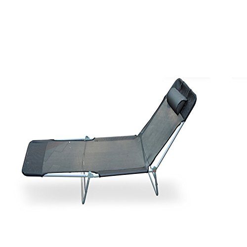 Black Folding Recliner Outdoor Beach Patio Pool Chaise Lounge Chair… - Beach Recliner