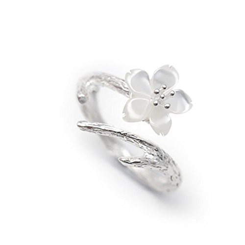 Puration White Cherry Blossom 925 Sterling Silver Ring