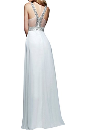 Partykleider Promkleider Damen Braut Abendkleider Gruen Steine mia Bodenlang Chiffon Ballkleider La Weiß Silber wOgqfvzA