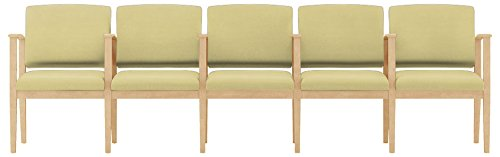 Lesro Amherst Wood 5 Seats with Center Arms in Natural Finish, Castillo Honeydew