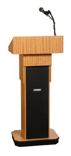 (Adjustable Executive Sound Column Lectern in Walnut)