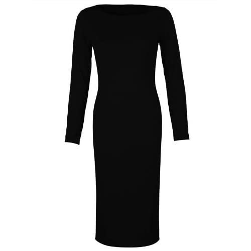 Fashion Factor Womens Plain Long Sleeve Midi Dress.