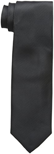 Geoffrey Beene Men's Bias Stripe Solid Tie, Black, One ()