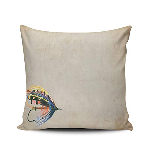DOUMIFA Fly Fishing Lure Art Salmon Fly Lure Pillowcase Home Sofa Decorative 22x22 Square Throw Pillow Case Decor Cushion Covers Double Sided Printed