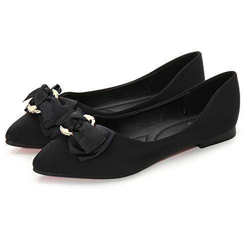 Pictures of Meeshine Womens Bow Pointed Toe Ballet Flats 5