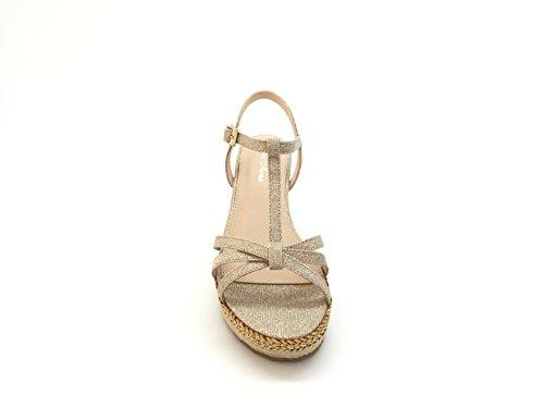 Chic Nana - Sandalia con plataforma y cuña de efecto corcho, suela forrada de cuerda y con aplique brillante dorado