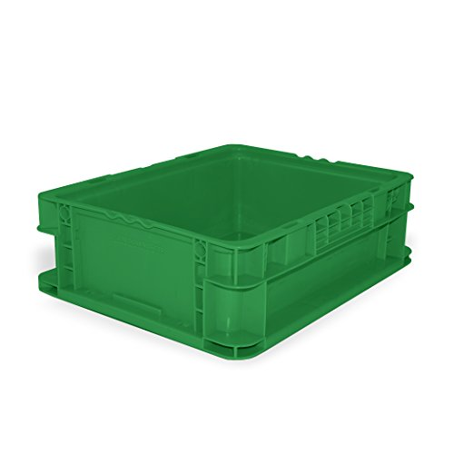SSI SCHAEFER AF121505.AAGN1 Straight Wall Container, Polyethylene, Green, Capacity 55 lb, 12'' Length x 15'' Width x 5'' Height by SSI SCHAEFER
