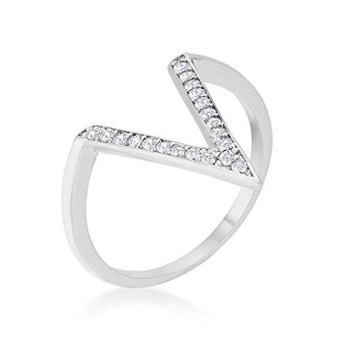 0.2ct CZ Delicate V-Shape Ring with a Lustrous High Polish Finish By KateBissett.com Size 7