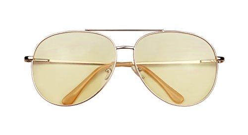 ShadyVEU - Modern Metal Frame Double Brow Bar Flat Color Tint Lens Sunglasses 55mm (Rose Gold Frame / Yellow Lens, - Brow Double