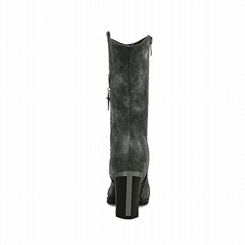 Carolbar Womens Rits Zwaard Vormige Hanger Decoraties Mode Hoge Hak Korte Laarzen Zwart