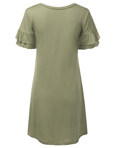 Doublju Des Femmes De Manches Coupe Ample Volanté Robe Tunique Taille Plus Cwdsd0492_dustysage