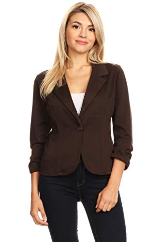 Solid Basic Ruched Sleeve Buttoned Business Casual Blazer Jacket/Made in USA Brown S - Brown Blazer