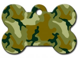- Camo Collection Bone Shape Personalized Custom Engraved Pet ID Tags! (Olive Green Camo, Large Tag (1-1/2