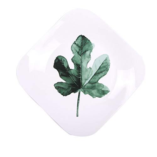 BESTONZON 9 Inch Nordic Green Plant Ceramic Plate Square Breakfast Steak Plate Fruit Plate (Maple Leaf)