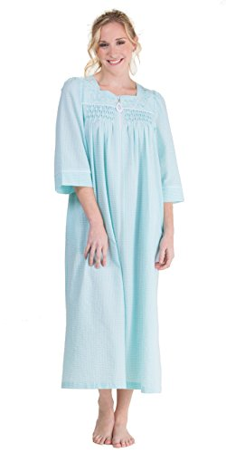 Miss Elaine Long Zip Front Smocked Seersucker Robe In Mint Stripe (Small/6-8, Mint (Long Smocked Seersucker)
