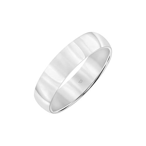 Brilliant Expressions .925 Sterling Silver Domed High-Polish Plain Wedding Band, 5mm, Size 10
